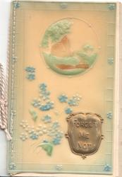 on celluloid front FORGET ME NOT on gilt plaque beside stylised forget-me-nots & below rural inset, embossed marginal floral design