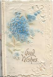 on celluloid front GOOD WISHES in gilt below forget-me-nots, embossed corner & marginal floral designs