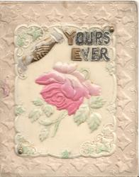 on celluloid front YOURS EVER in glittered gilt, clasped hands, pink rose, embossed marginal floral design