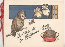 """OWL"" THIS DO FOR CHRISTMAS? mouse on top of christmas cake offers holly to 3 owls"
