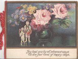 JOY LEAD YOU.....miniature Japanese boy & girl  beside green pot of pink roses above, yellow & blue daisies, dark/black background