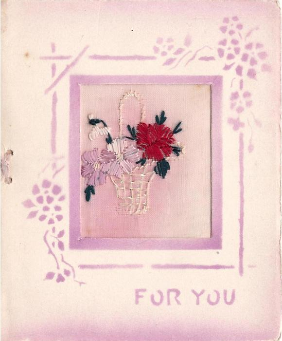 FOR YOU embroidered inset with basket of flowers, purple stenciled border & text