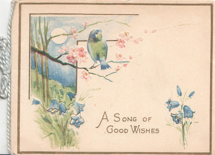 A SONG OF GOOD WISHES in gilt below Blue Bird of Happiness on blossom branch, bluebells below, sun & blue sky