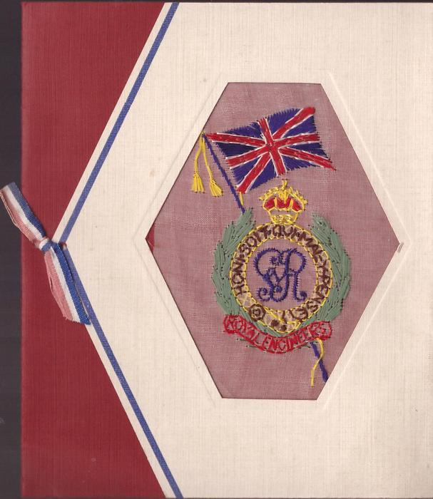 ROYAL ENGINEERS embroidered with monogram, motto & Union Jack in hexagonal perforation, front flap folded left & secured on red backing with ribbon