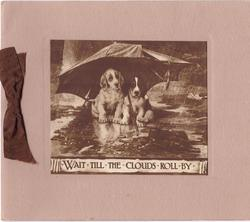 WAIT TILL THE CLOUDS ROLL BY 2 puppies sheltered under umbrella in rain, sepia insert on tan card stock, brown ribbon