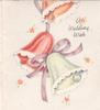 A WEDDING WISH 3 bells & mauve ribbon, 5 dainty stylised flowers