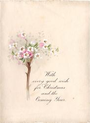 WITH EVERY GOOD WISH FOR CHRISTMAS AND THE COMING YEAR small tree with handpainted blossoms