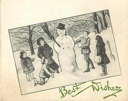 BEST WISHES opt. in green below inset of children surrounding snowman