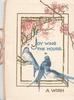 JOY WING THE HOURS in blue, 3 perched blue birds of happiness below cherry blossom, as base A WISH