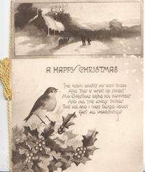 A HAPPY CHRISTMAS below snowy rural inset in sepia at top, verse, holly & robin in sepia below
