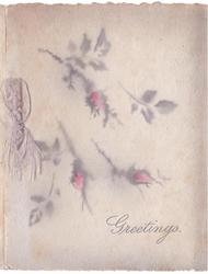 GREETINGS opt. in grey below stenciled grey & pink moss rose buds, grey ribbon left