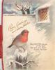 CHEERY GREETINGS AND WARMEST WISHES FOR THE SEASON, English robin left above mistletoe, much snow