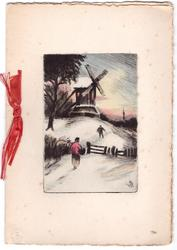 no front title, man walks toward windmill in snow, woman follows, approaching wooden gate, red ribbon left