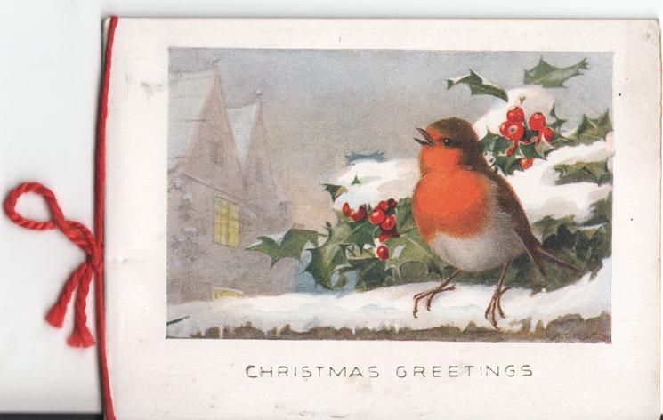 CHRISTMAS GREETINGS english robin perched on fence behind holly