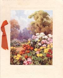 BIRTHDAY GREETINGS impressed below floral garden inset, orange ribbon left