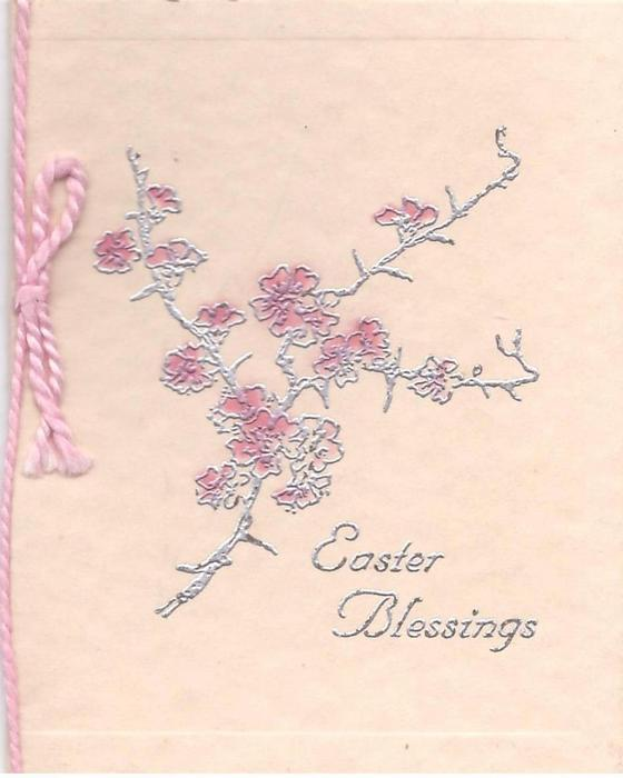 EASTER BLESSINGS branch with pink blossoms, silver embossed, pink cord left