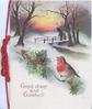 GOOD CHEER AND GOODWILL below English robin perched on berried  holly, snowy rural scene, person carrying tree on bridge with child