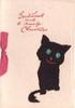 GOOD LUCK AND A MERRY CHRISTMAS opt. in red,  black cat  applique with green eyes, pink ribbon left