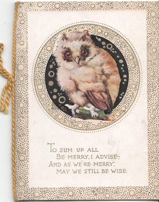 "TO SUM UP ALL BE MERRY, I ADVISE AND AS WE""RE MERRY, MAY WE STILL BE WISE owl in circular inset"