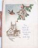 THE BELLS OF YULETIDE......, house & church left, berried holly around 3 bells, 2 English robins
