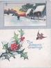 THE SEASON'S GREETINGS below rural inset of village under snow, berried holly, flying English robin