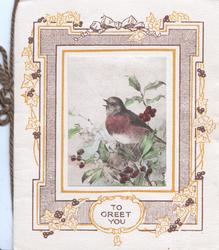 TO GREET YOU on oval white plaque below complex design of berried holly, perched English robin singing
