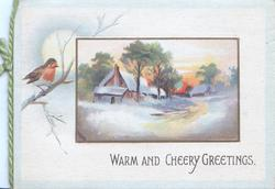 WARM AND CHEERY GREETINGS snowy rural evening inset perched English robin