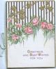 GREETINGS AND BEST WISHES below gilt ivy & pink roses in vertical design