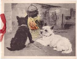 no front title, 2 black & white scotties in front of fire