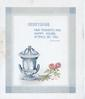 GREETINGS FAIR THOUGHTS AND HAPPY HOURS ATTEND ON YOU above 2 pink roses & blue/white china pot