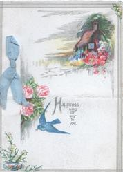 HAPPINESS WING ITS WAY TO YOU pink roses left,  small rural inset above, bluebird-of-happiness below