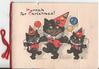 HURRAH FOR CHRISTMAS! three cats in party hats holding baloons