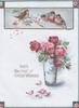 WITH THE BEST OF GOOD WISHES pink roses in blue vase below inset of 4 bluebirds of happiness