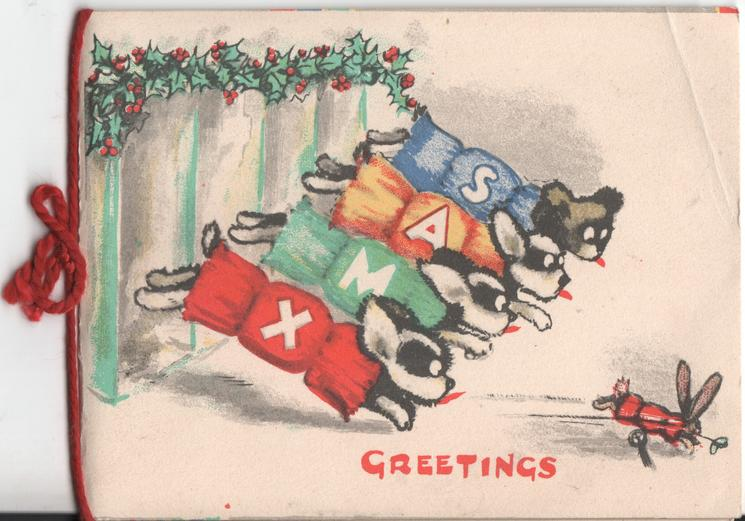 GREETINGS, four dogs chasing after rabbit, their sweaters spell XMAS