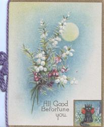 ALL GOOD BEFORTUNE YOU below moon & bunch of purple & white heather, small inset of black cat lower right