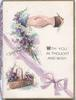 WITH YOU IN THOUGHT AND WISH right heather, clasped hands & heather above, purple ribbon & bow