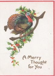 A MERRY THOUGHT FOR YOU large male turkey perched on wishbone, holly behind