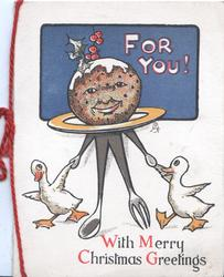 WITH MERRY CHRISTMAS GREETINGS 2 geese walk a personized Xmas pudding front, FOR YOU on blue plaque behInd