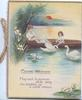 GOOD WISHES, verse, mother & daughter in boat feeding 2 swans, lilies left, sun setting