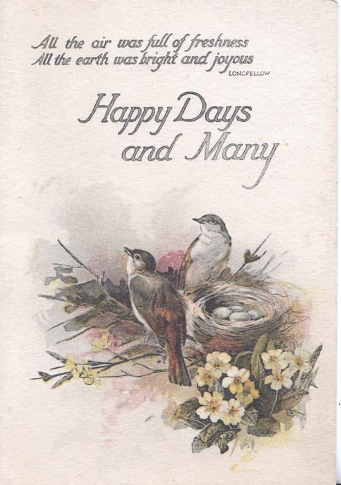HAPPY DAYS AND MERRY below verse & above 2 birds by nest with eggs, yellow primroses below