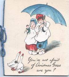 YOU'RE NOT AFRAID OF CHRISTMAS GEESE ARE YOU? 2 geese frighten boy & girl under blue umbrella
