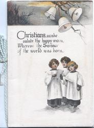 CHRISTIANS AWAKE...3 bells & rural scene above 3 girls singing below verse