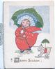 A HAPPY SEASON below girl with dog out in falling snow, both use umbrellas