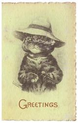 GREETINGS in red, cat faces front wearing hat & holding small barrel gun