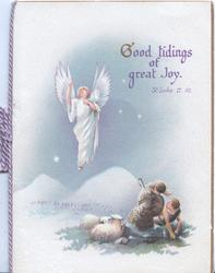 GOOD TIDINGS OF GREAT JOY. ST. LUKE II.10 angel hovers above shepherds & sheep