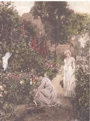 no front title, 2 young women pick flowers in garden, gate behind