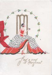 SING A SONG OF CHRISTMAS young woman in very elaborate skirt seated facing right