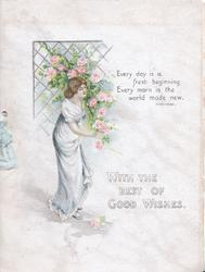 WITH THE BEST OF GOOD WISHES young woman under pink roses hanging from trellis