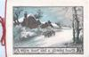 A WARM HEART AND A GLOWING HEARTH, man walks beside horse & cart on snowy road, houses behind