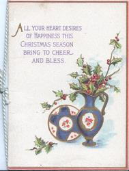 ALL YOUR HEART DESIRES....blue & white plate & vase, berried holly